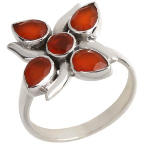 Ring 925 Sterling Silber Chalzedon rot