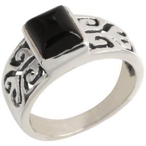 Ring 925 Sterling Silber Achat schwarz