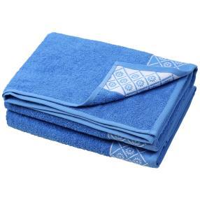 Duschtuch Rauten 2-teilig, blau