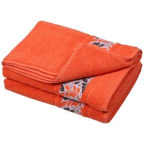 Duschtuch Blätter 2er Set, orange