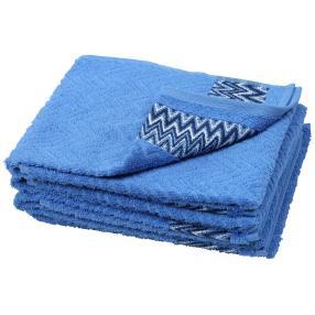 Handtuch grafisch 4er-Set blau