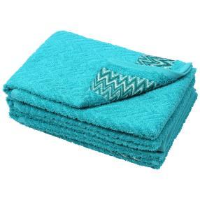 Handtuch mit Bordüre 4er Set, smaragd