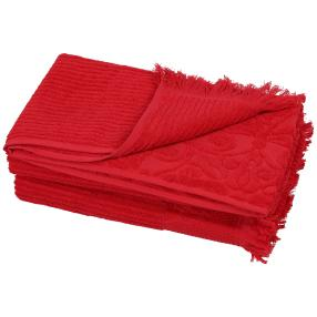 Duschtuch Fransen 2-teilig rot
