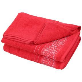 Duschtuch Ornament 2-teilig, rot
