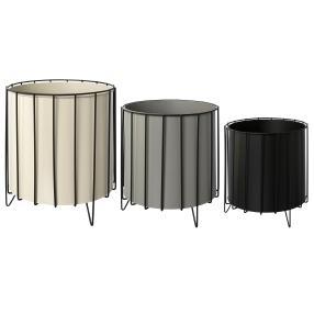 Metall-Übertopf 3er Set grau
