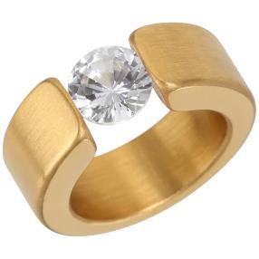 Ring Edelstahl vergoldet Zirkonia