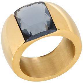 Ring Edelstahl vergoldet Glas blaugrau
