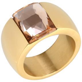 Ring Edelstahl vergoldet Glas rosé