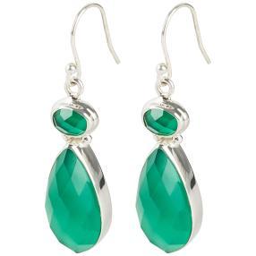 Ohrhänger 925 Sterling Silber Achat grün