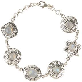 Armband 925 St. Silber Regenbogenmondstein