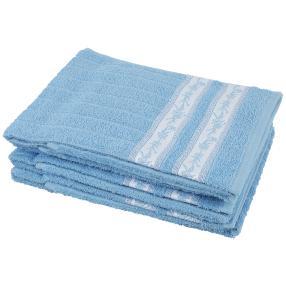 Handtuch Blumenranke 4er Set, hellblau