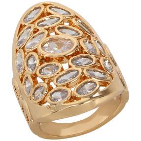 Ring Bronze vergoldet Zirkonia weiß