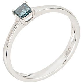 Ring 585 Weißgold Diamant blau