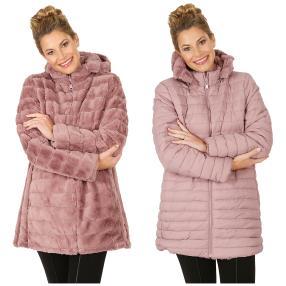 Damen-Wende-Stepp-Mantel Nylon/Webpelz rosé