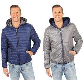 Herren-Wende-Stepp-Jacke 'Joe' mit Kapuze royablau