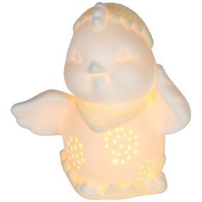 Ceramico LED-Küken mit Glitter weiß-gelb