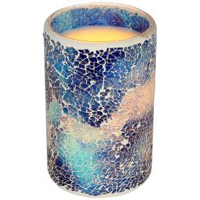 LED-Kerze Mosaik blau, Höhe 15cm