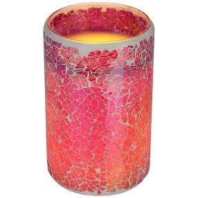 LED-Kerze Mosaik pink, Höhe 15 cm