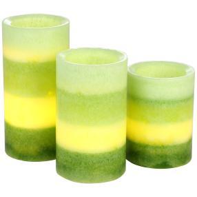 LED-Kerzen 3-teilig, Farbverlauf grün