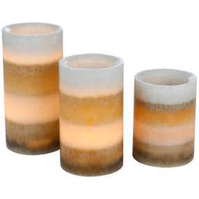 LED-Kerzen 3-teilig, Farbverlauf taupe/grau
