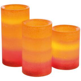 LED-Kerzen 3-teilig Farbverlauf orange/rot