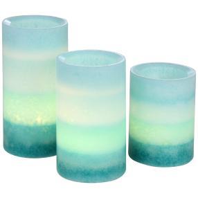 LED-Kerzen 3-teilig, Farbverlauf blau/türkis