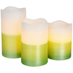 LED-Kerzen 3tlg. Farbverlauf weiß-grün