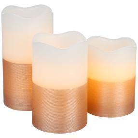 LED-Kerzen 3tlg. Farbverlauf weiß-roségold