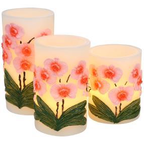 LED-Kerzen 3-teilig, Orchideen