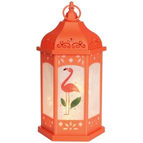 LED-Laterne Flamingo, orange