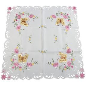 Mitteldecke 85 x 85 cm, Schmetterling pink