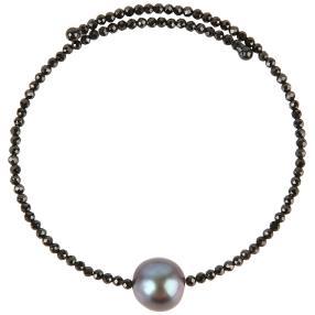 Armreif Spinell + Perle schwarz