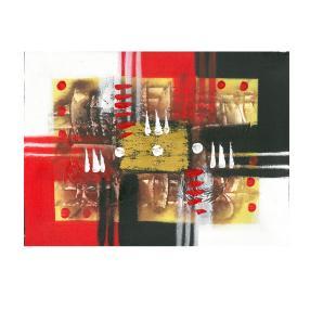 Darimana Aquarell abstrakt 40x60cm rot-gelb