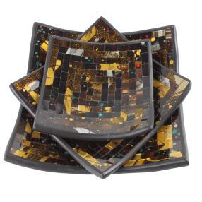 Darimana Mosaik-Schalen 3-teilig braun