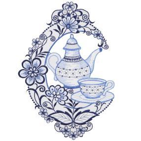 Plauener Spitze Fensterbild Kaffee