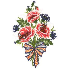 Plauener Spitze Fensterbild Blumenstrauß