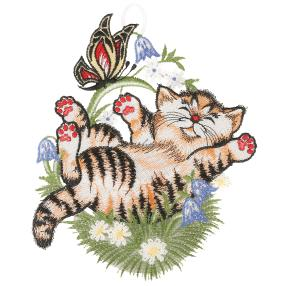 "Plauener Spitze Fensterbild ""Katze"""