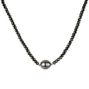 Collier Tahiti-Zuchtperle Spinell 925 Silber
