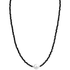 Collier Muschelkernperle Spinell 925 Silber
