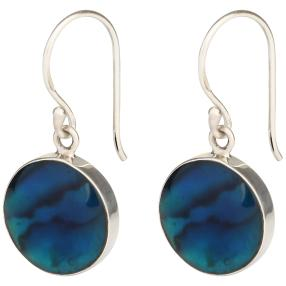 Ohrringe 925 Sterling Silber Abalone rund