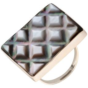 Ring 925 St. Silber Black Shell Quadrat