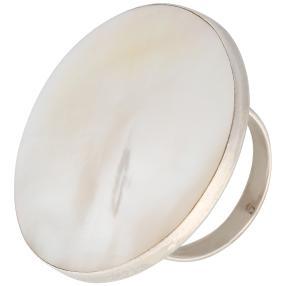 Ring 925 Sterling Silber Perlmutt rund
