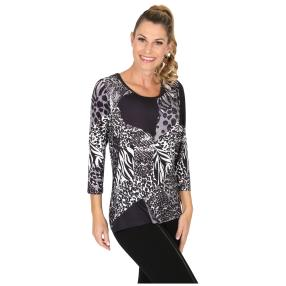 BRILLIANTSHIRTS Shirt 'Seveso' schwarz/weiß/grau