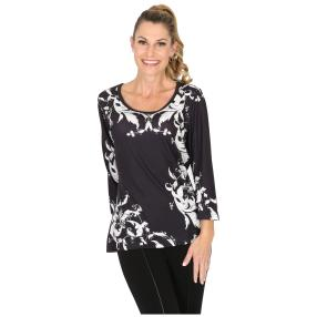 BRILLIANTSHIRTS Shirt 'Sesta' schwarz/weiß