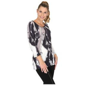 BRILLIANTSHIRTS Shirt 'Veroli' schwarz/weiß/grau