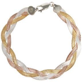 Armband 925 Sterling Silber tricolor