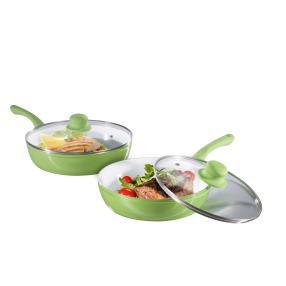 Aluguß Hochrandpfannen-Set 4-tlg. grün