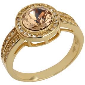 Ring 925 Silber vergoldet mit Swarovski® Kristall