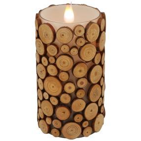 3D-Kerze Holzoptik Flackereffekt