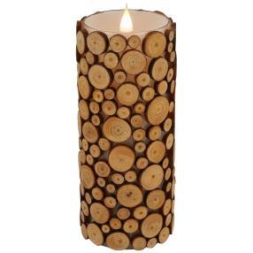 3D-Kerze Holzoptik 20cm Flackereffekt